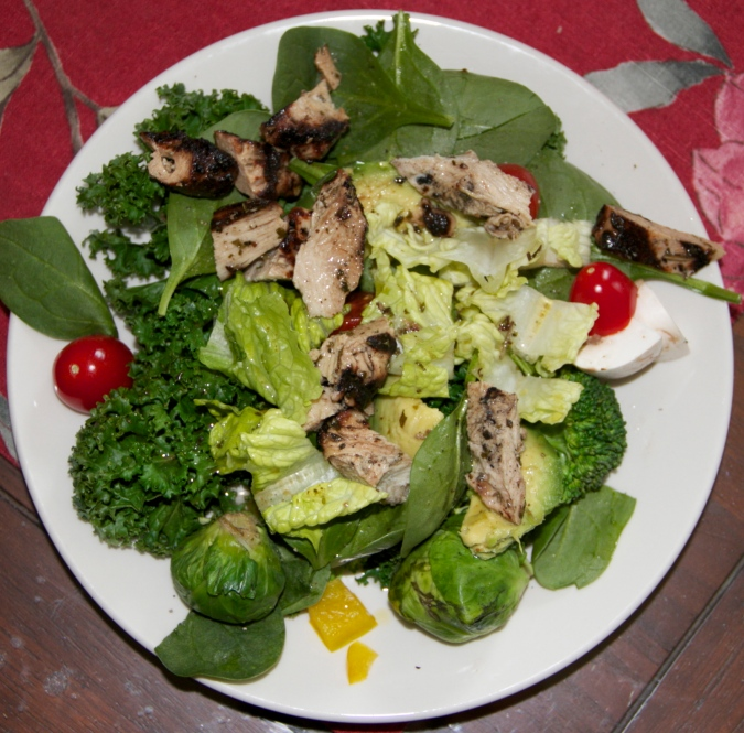 chicken on salad